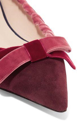 FENDI Bow-embellished suede point-toe flats