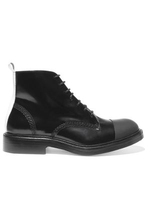 JOSEPH Rubber-paneled glossed-leather ankle boots