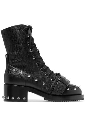 N°21 Buckled studded textured-leather ankle boots