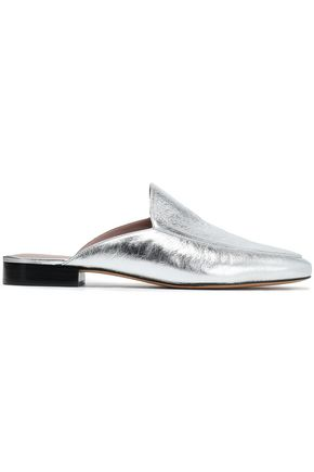 DIANE VON FURSTENBERG Metallic cracked-leather slippers