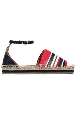 RED(V) Chain-trimmed striped leather espadrilles