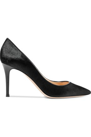 GIANVITO ROSSI Leather-trimmed calf hair pumps