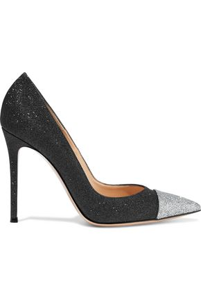 GIANVITO ROSSI Allie two-tone glittered leather pumps