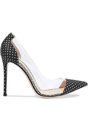GIANVITO ROSSI Plexi PVC-paneled polka-dot twill pumps