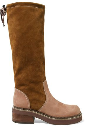 SEE BY CHLOÉ Leather-paneled suede knee boots