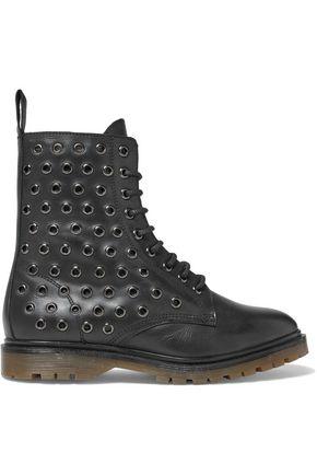 RED(V) Eyelet-embellished leather ankle boots