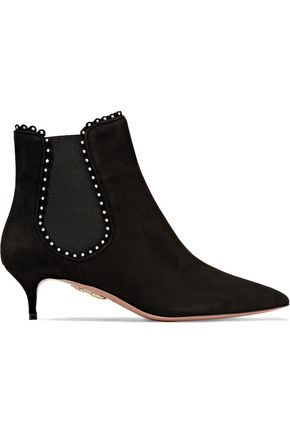 AQUAZZURA Studded suede ankle boots