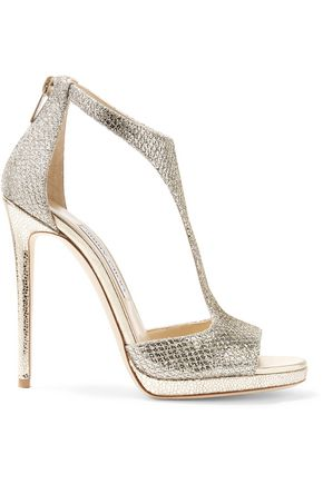 JIMMY CHOO Glittered twill sandals