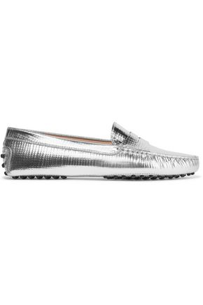 TOD'S Metallic textured-leather loafers
