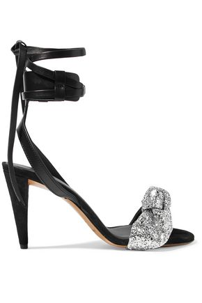 ISABEL MARANT Glitter bow-embellished suede-trimmed leather sandals