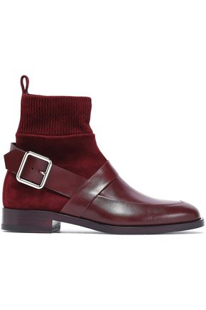 PIERRE HARDY Buckled leather and suede ankle boots