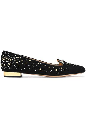 CHARLOTTE OLYMPIA Kitty embellished embroidered suede slippers