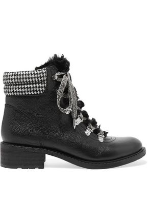SAM EDELMAN Faux shearling-lined leather ankle boots