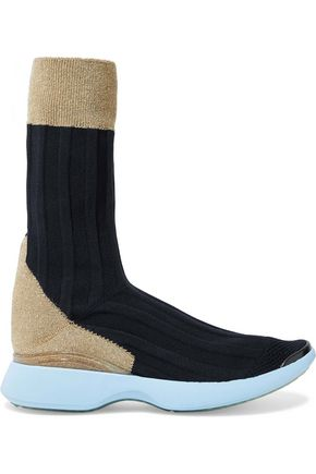 ACNE STUDIOS Batilda metallic-paneled stretch-knit sneakers
