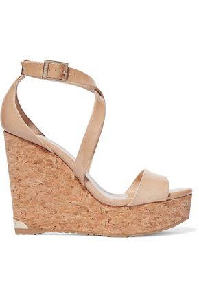JIMMY CHOO Patent-leather wedge sandals
