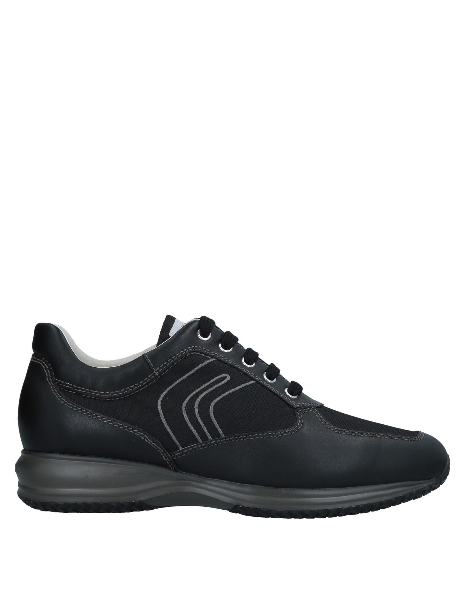 GEOX メンズ スニーカー&テニスシューズ(ローカット) ブラック 44 革 / 紡績繊維