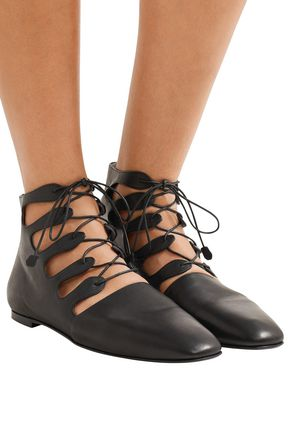 THE ROW Dimitri lace-up leather ankle boots
