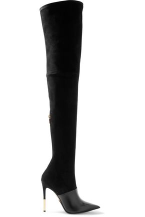 amazone-suede-and-leather-thigh-boots by balmain