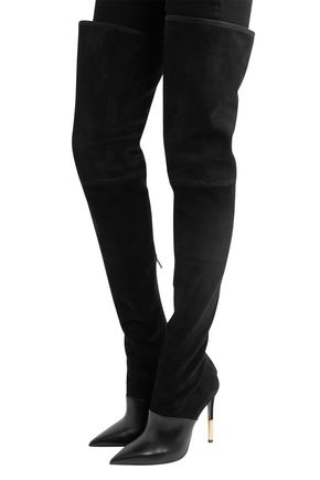 BALMAIN Amazone suede and leather thigh boots