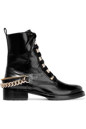LANVIN Embellished glossed-leather ankle boots