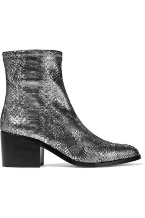Woman Livv Metallic Snake-Effect Stretch-Leather Ankle Boots Silver