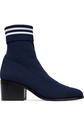 Opening Ceremony WOMAN COURT STRIPED STRETCH-KNIT SOCK BOOTS NAVY