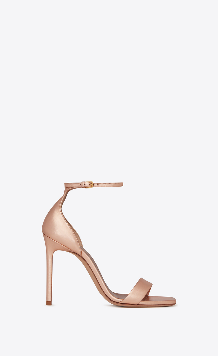bb7121e4bf37 Saint Laurent Amber Sandal In Metalized Leather