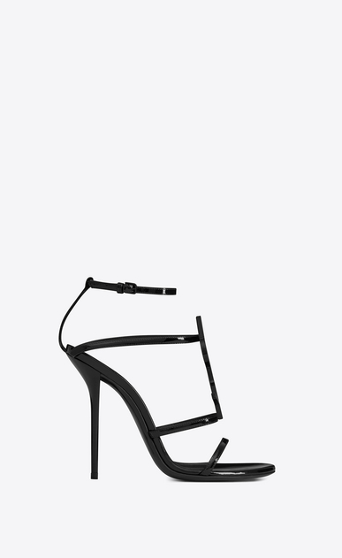 SAINT LAURENT Sandals Woman cassandra sandal with black logo in patent leather b_V4