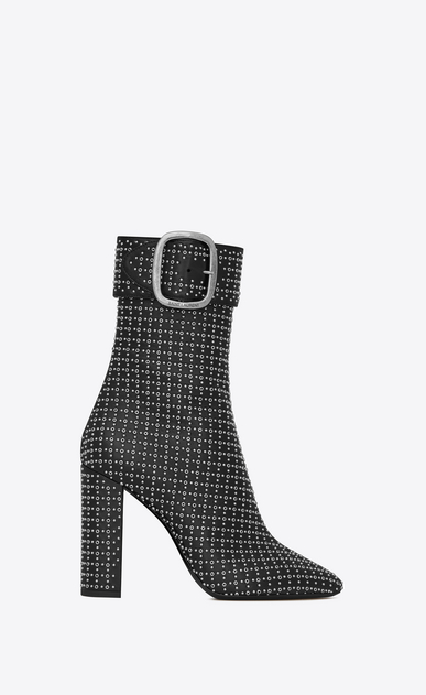 SAINT LAURENT Boots Woman joplin buckle bootie in leather all over eyelets a_V4