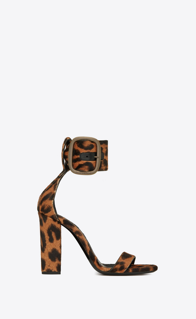 SAINT LAURENT Loulou レディース loulou buckle sandal in leopard printed pony effect leather a_V4