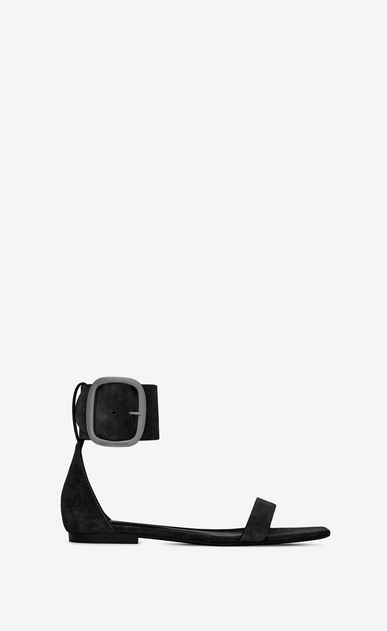SAINT LAURENT Nu pieds Woman loulou flat buckle sandal in suede a_V4