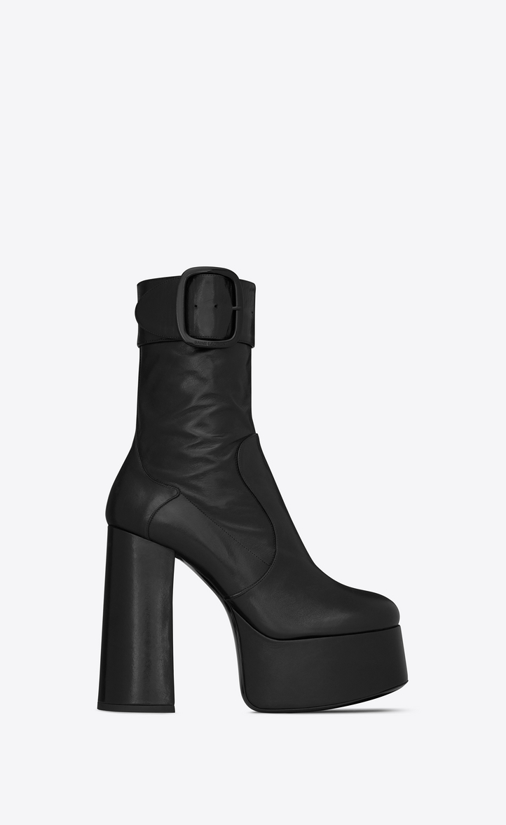 Billy Platform Leather Ankle Boots in Black
