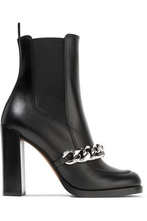 GIVENCHY Chain-trimmed leather ankle boots