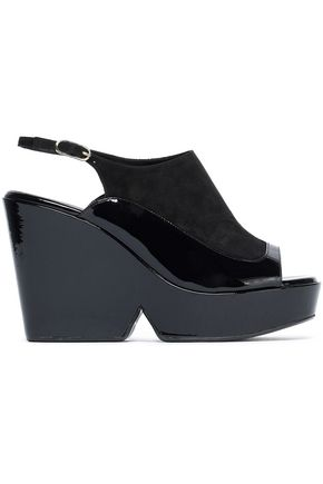 ROBERT CLERGERIE Dana patent-leather platform slingback sandals