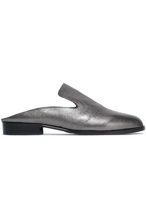 ROBERT CLERGERIE Alicek metallic textured-leather slippers