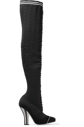 FENDI Stretch-knit thigh boots