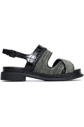 ROBERT CLERGERIE Croc-effect leather and raffia sandals