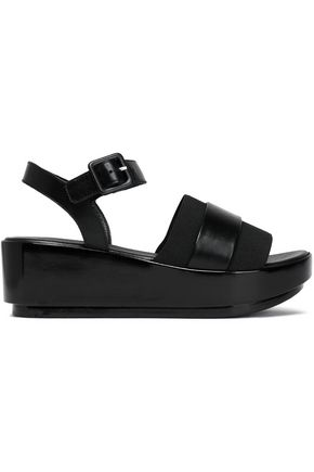 ROBERT CLERGERIE Leather and stretch-knit wedge sandals