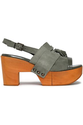 ROBERT CLERGERIE Tasseled suede platform sandals