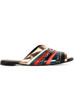 ROBERT CLERGERIE Gamure metallic paneled leather slides
