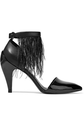 OPENING CEREMONY Feather-trimmed matte and patent-leather pumps