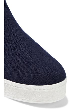 OPENING CEREMONY Ruffle-trimmed stretch-knit platform high-top sneakers