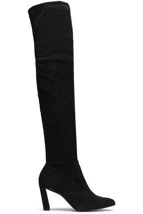 ROBERT CLERGERIE Quilam stretch-suede over-the-knee boots