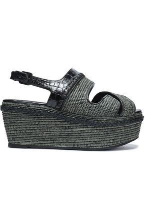 ROBERT CLERGERIE Raffia and croc-effect leather platform sandals