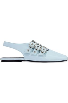 OPENING CEREMONY Buckle-detailed patent-leather slingback slippers