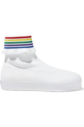 WOMAN BOBBY RUFFLE-TRIMMED STRETCH-KNIT HIGH-TOP SNEAKERS WHITE