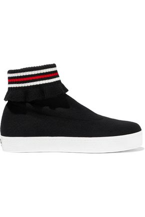 Woman Bobby Ruffle-Trimmed Stretch-Knit High-Top Sneakers Black