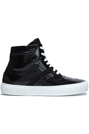 ROBERT CLERGERIE Snake-effect and smooth leather sneakers