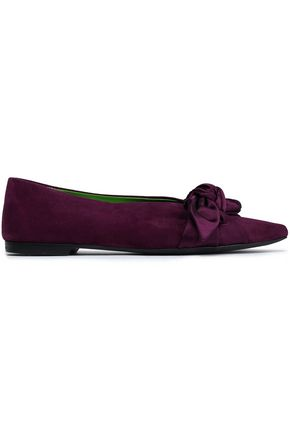 EMILIO PUCCI Knotted satin-trimmed suede point-toe flats