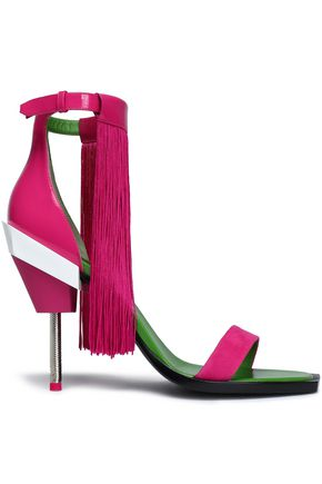 EMILIO PUCCI Fringed suede and patent-leather sandals